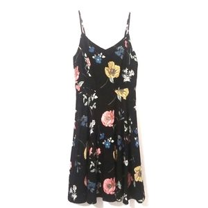 GAP Fit and flare floral black dress